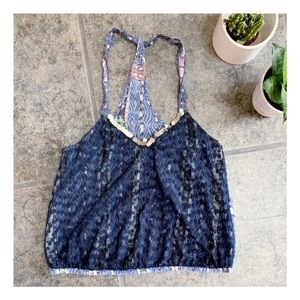 Free People Lace Racerback Tank Top in Navy